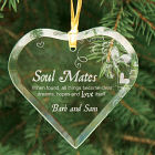Engraved Soul Mates Glass Heart Ornament