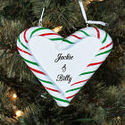 Engraved Heart Candy Cane Christmas Ornament
