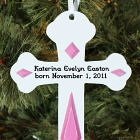 New Baby Engraved Cross Ornament