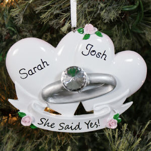 Personalized Couples Engagement Ring Ornament 843723
