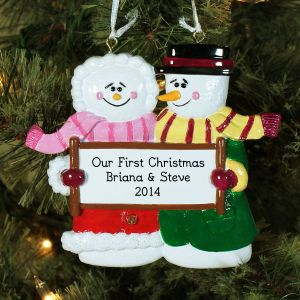 Engraved Snow Couple Christmas Ornament