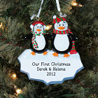 Engraved Our First Christmas Penguin Ornament