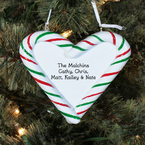 Engraved Candy Cane Heart Ornament