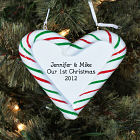 Engraved Our First Christmas Candy Cane Heart Ornament