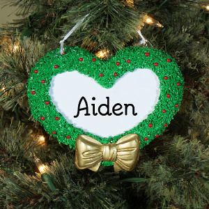 Engraved Heart Wreath Ornament