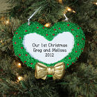Engraved First Christmas Heart Wreath Ornament