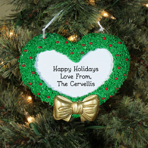 Engraved Christmas Wreath Heart Ornament