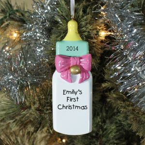 Baby Bottle Girl Personalized Christmas Ornament
