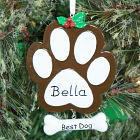 Personalized Paw Print Dog Ornament