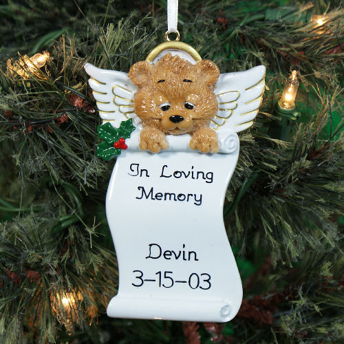 Personalized Angel Bear Memorial Ornament | Memorial Christmas Ornaments
