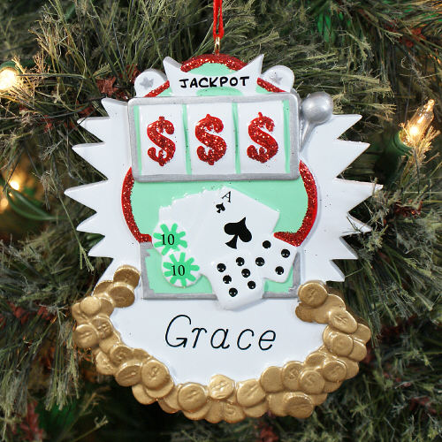 Personalized Gambling Ornament | Personalized Casino Ornament