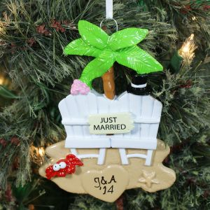 Personalized Just Married Christmas Ornament