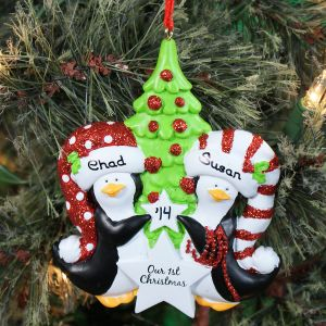 Personalized Our First Christmas Penguin Ornament