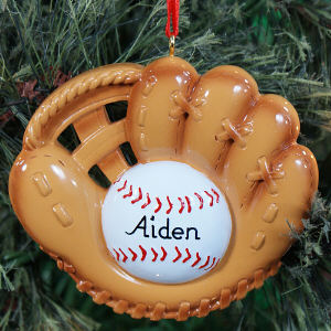 Personalized Baseball Mitt Ornament