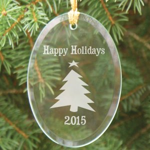 Happy Holidays Oval Glass Ornament