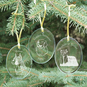 Engraved Dog Breed Glass Ornament