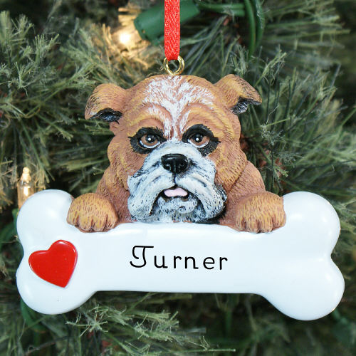 Engraved Bulldog Ornament | Personalized Pet Ornaments