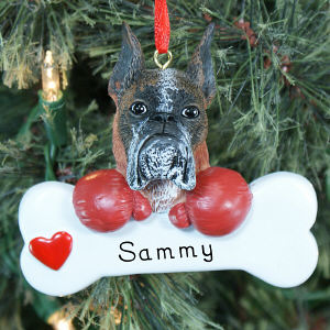 Engraved Boxer Ornament