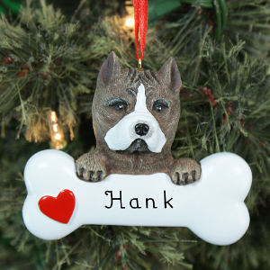 Engraved Pit Bull Ornament | Personalized Pet Ornaments
