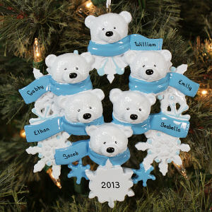 Personalized Polar Bear Family Ornament
