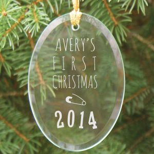 Engraved Baby's First Christmas Oval Glass Ornament