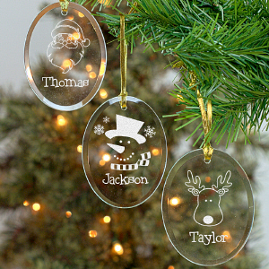 Engraved Glass Christmas Ornament