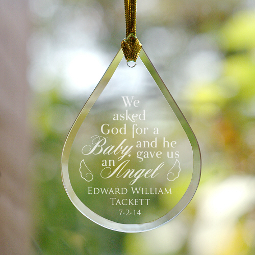 Engraved Memorial Tear Drop Ornament |  Baby Angel Ornaments