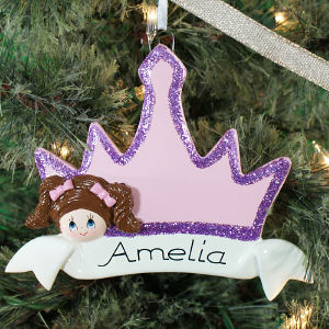 Personalized Brown Hair Princess Crown Ornament | Personalized Christmas Ornaments for Kids