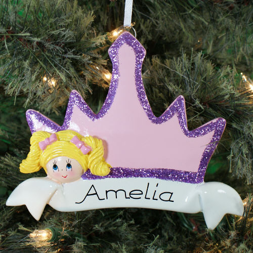 Personalized Blonde Hair Princess Crown Ornament |Personalized Christmas Ornaments For Kids