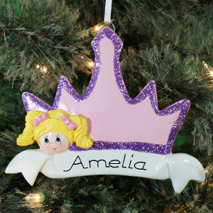 Personalized Blonde Hair Princess Crown Ornament 860673