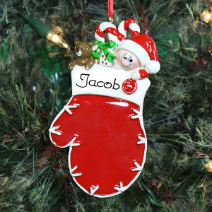 Personalized Red Mitten Baby Ornament