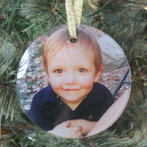 Glass Photo Christmas Ornament