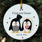 Personalized Ceramic Penguin Bride and Groom Ornament