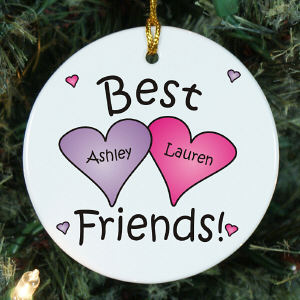 Best Friends Personalized Ceramic Ornament