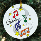 Personalized Ceramic Music Notes Ornament