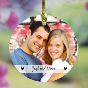 Couples Photo Glass Ornament