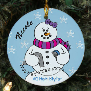 Personalized Ceramic Hair Stylist Snowman Ornament