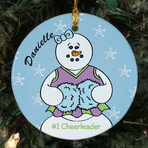 Personalized Ceramic Cheerleader Snowman Ornament