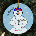 Personalized Ceramic Coach Snowman Ornament