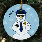 Personalized Ceramic Police Snowman Ornament