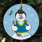 Personalized Ceramic Golfer Snowman Ornament