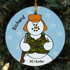 Personalized Ceramic Hunter Snowman Ornament