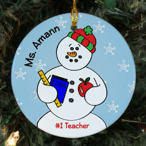 Personalized Ceramic Teacher Snowman Ornament