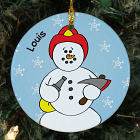 Personalized Ceramic Fireman Snowman Ornament