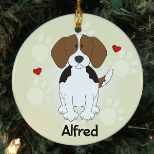 Personalized Ceramic Loved By My Beagle Ornament
