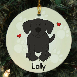 Personalized I Love My Black Lab Dog Ornament