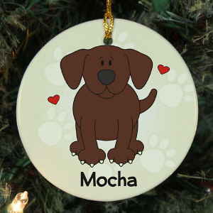 Personalized Ceramic Loved By My Chocolate Lab Ornament