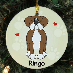 Personalized Ceramic Loved By My Boxer Ornament