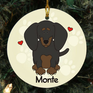 Personalized Ceramic Loved By My Dachshund Ornament