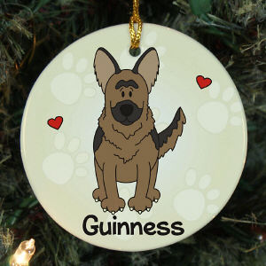Personalized Ceramic Loved By My German Shepherd Ornament